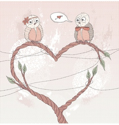 Valentines day card cute bird in love vector