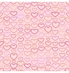 Seamless valentines pattern with outline hearts vector
