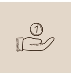 Hand and one coin sketch icon vector