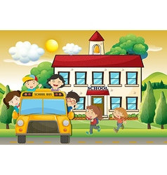 Children on schoolbus to school vector image
