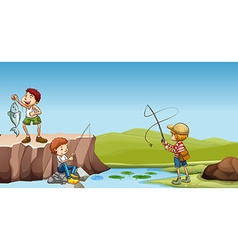 Three boys fishing at the river vector image