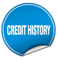 Credit history round blue sticker isolated on vector