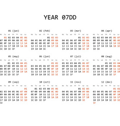 Hexadecimal programming calendar 2013 vector image