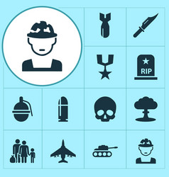 army icons set collection of panzer rocket vector image