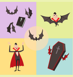 Cartoon dracula symbols vampire icons vector