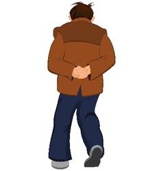 Cartoon man in brown jacket walking away back view vector