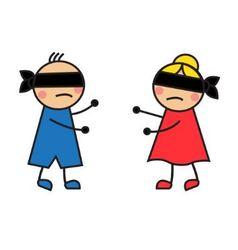 children blindfolded seek each other vector image