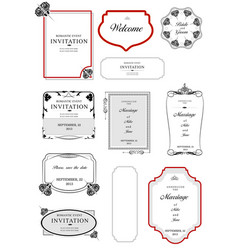 Collection of frames and ornaments with sample vector