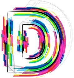 Colorful font letter d vector