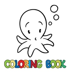 Coloring book of funny octopus vector