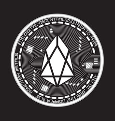 Crypto currency eos black and white symbol vector
