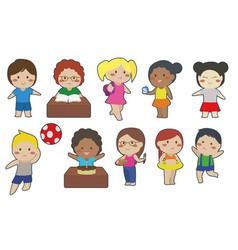 Cute children cartoon clipart vector