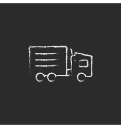 Delivery truck icon drawn in chalk vector