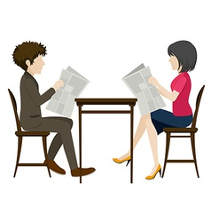 Faceless people with newspapers vector image vector image