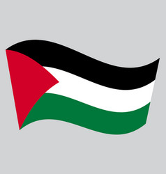 Flag of palestine waving on gray background vector