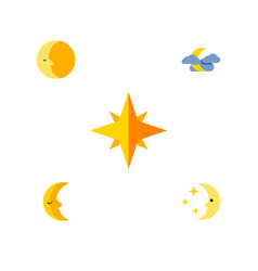 Flat icon bedtime set of nighttime lunar vector