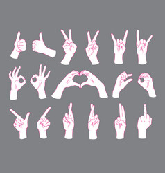 Gesture set female hands showing different signs vector