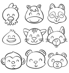 Hand draw cute animal doodle style vector