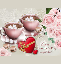 Hot chocolate cups valentine day card delicate vector