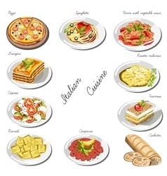 Italian cuisine set collection of food dishes vector