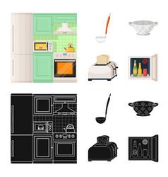 Kitchen equipment cartoonblack icons in set vector
