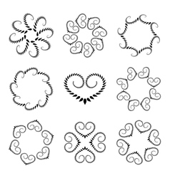 Laurel wreath tattoo set wheats with heart vector