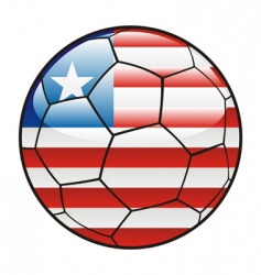 liberia flag on soccer ball vector image vector image