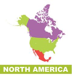 North america map icon flat north america sign vector