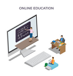 Online education promo poster with big computer vector