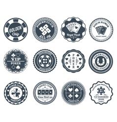 Poker black labels set vector