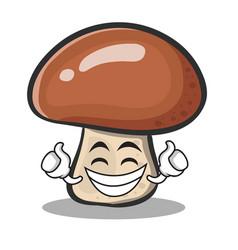 Proud face mushroom character cartoon vector