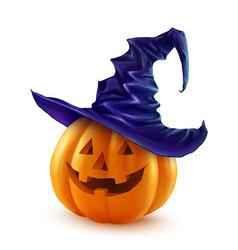Realistic halloween pumpkin in violet witch vector