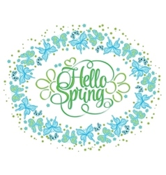 Round frame of butterflies hello spring lettering vector