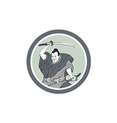 Samurai Warrior Wielding Katana Sword Circle vector image