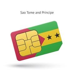 Sao tome and principe phone sim card with flag vector