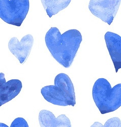 Seamless pattern with watercolor hearts vector image vector image