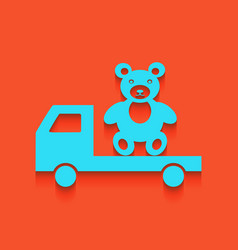 Truck with bear whitish icon on brick vector