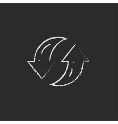 Two circular arrows icon drawn in chalk vector image vector image