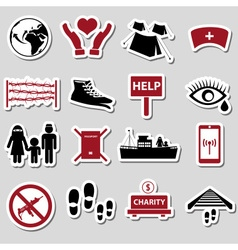 various simple refugees theme stickers set eps10 vector image