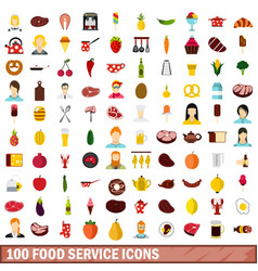 100 food service icons set flat style vector