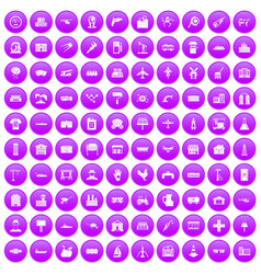 100 industry icons set purple vector