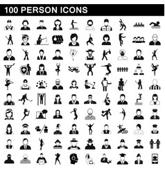 100 person icons set simple style vector