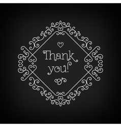 Thank you lettering and frame line art black board vector