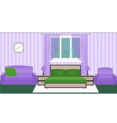 Bright colors bedroom interior with furniture vector