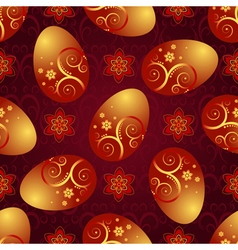 Bright red pattern with Easter golden shiny eggs vector image