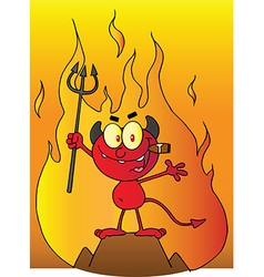 Little devil smoking a cigar in front of flames vector