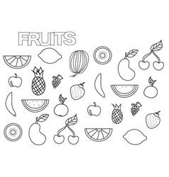 hand drawn fruits set coloring book page vector image