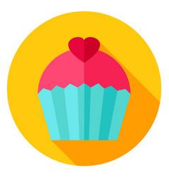 Sweet cupcake circle icon vector