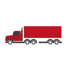 Lorry symbol in red and black colors isolated on vector