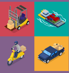 Isometric delivery concept freight transportation vector